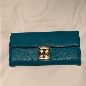 Accessories - teal Wallet / crossbody with gold hardware